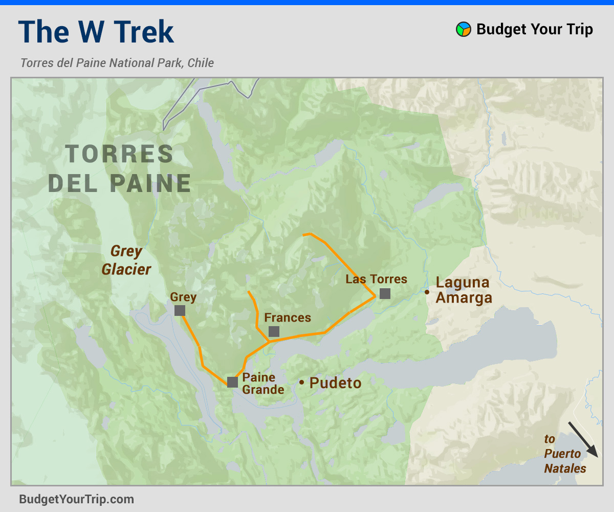 Map: W Trek Torres del Paine National Park, Chile, Patagonia