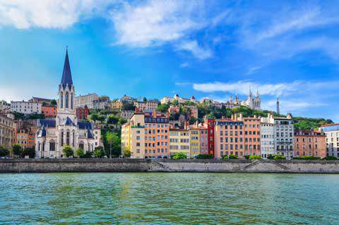 Lyon, France, as viewed from the Saone River