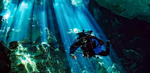Diving in a Cenote in Merida, Mexico