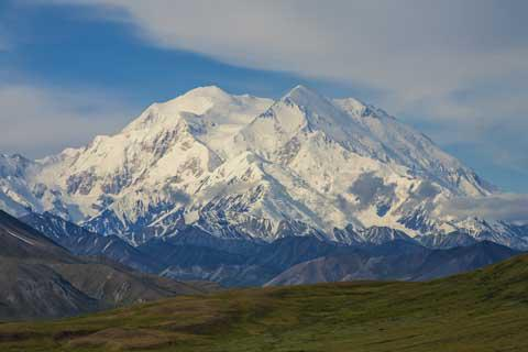 Denali, also known as Mount McKinley, is the highest mountain in the United States at 20,310 feet (6,190.5 m).