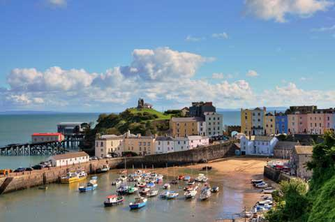Tenby Harbour and Castle Hill, Wales