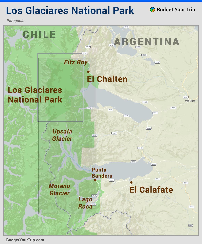 Map: Los Glaciares National Park