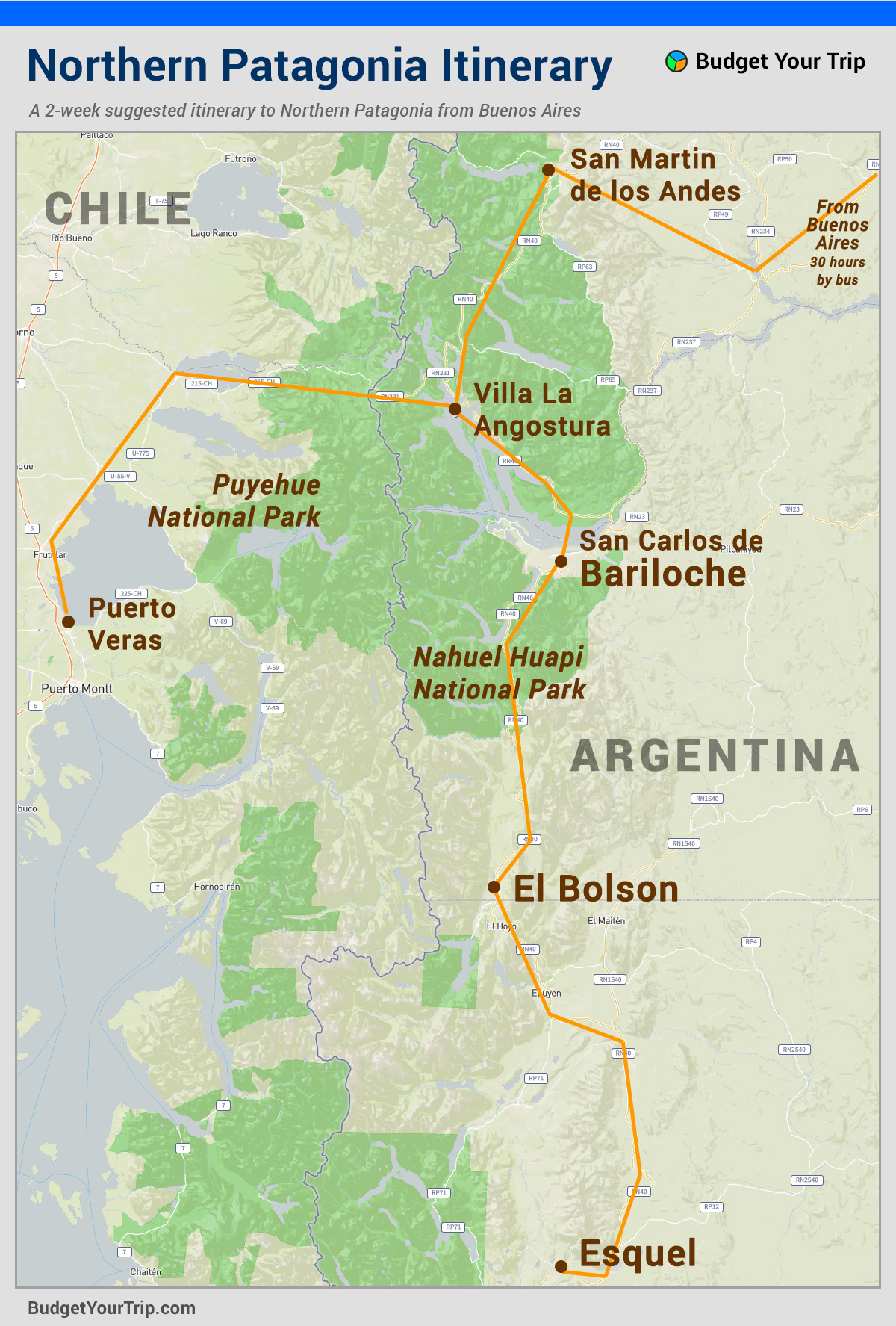 Map: Northern Patagonia Itinerary