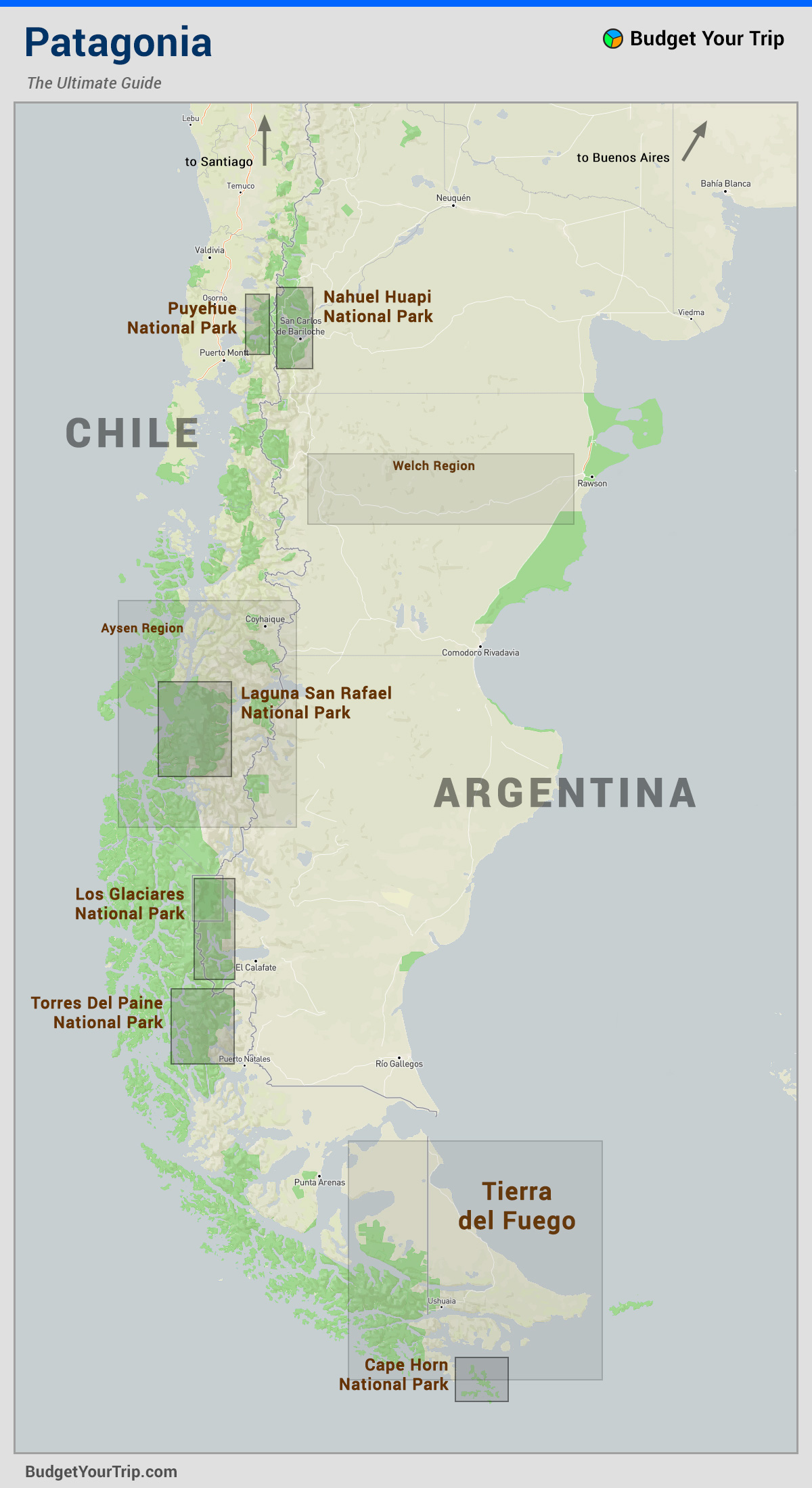 Map Regions Of Patagonia Budget Your Trip
