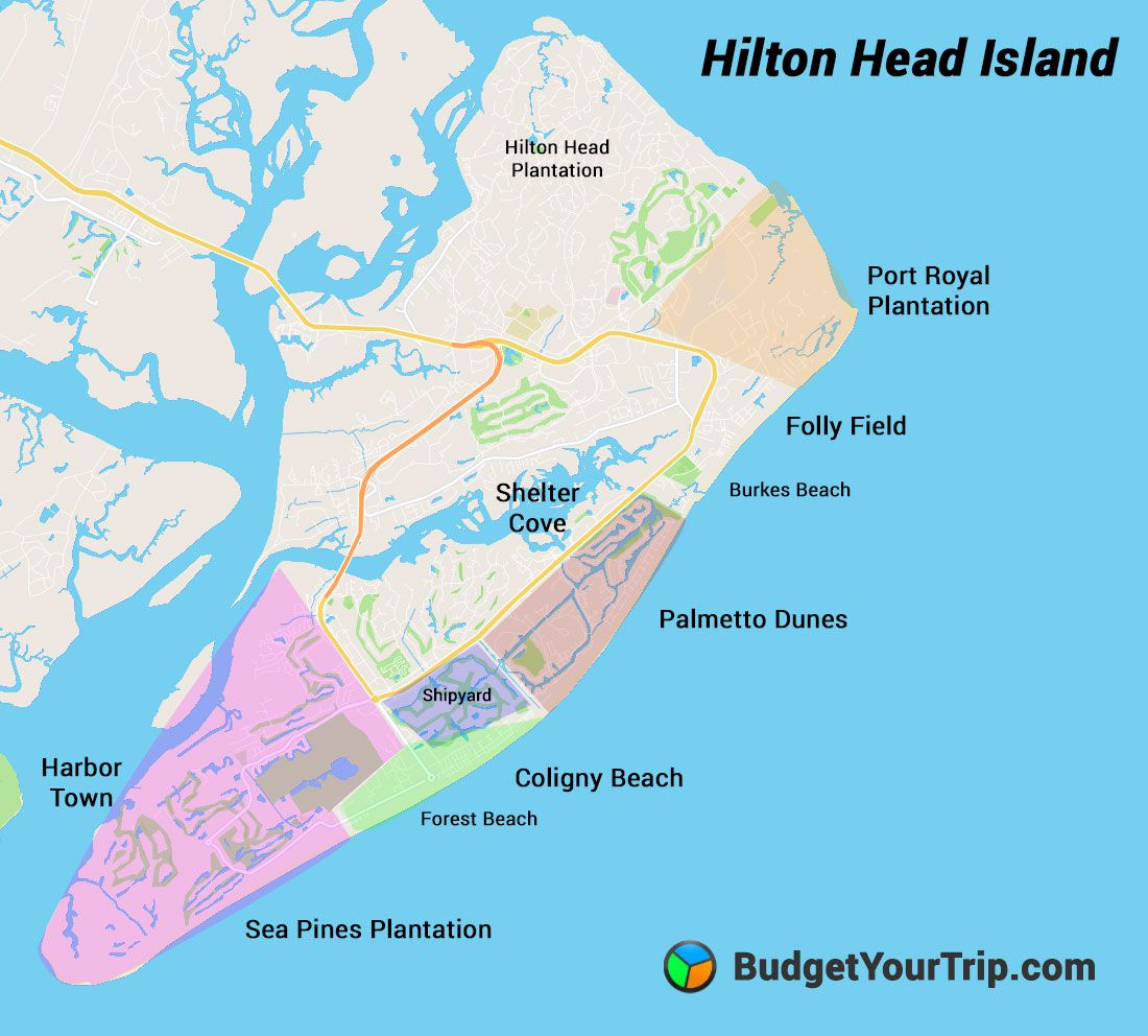 Hilton Head Island Map - Places to Stay AirBnBs Families - Port Royal, Folly Field, Coligny Beach, Sea Pines, Palmetto Dunes, Shelter Cove, Harbor Town