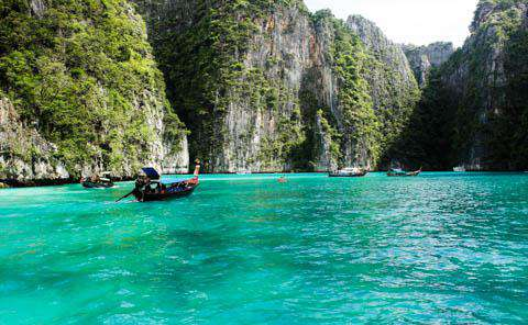 Longtail boats around Koh Phi Phi, Thailand